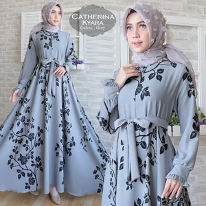 Baju Gamis Long Dress Muslim Catherina Motif Modern Model Terbaru
