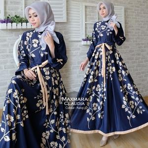 Baju Gamis Long Dress Muslim Maxy Bahan Maxmara Motif Modern