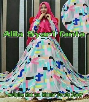 Baju Gamis Syari Setelan Jilbab Bergo Motif Cantik Modern Model Terbaru Murah