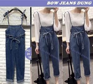 Baju Jumpsuit Celana Kodok Wanita Bahan Jeans Modern