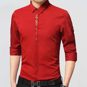 Baju Kemeja Hem Pria Embordired Lengan Panjang Modern