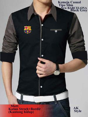 Baju Kemeja Pria Hem Barcelona Cowok Lengan Panjang Keren