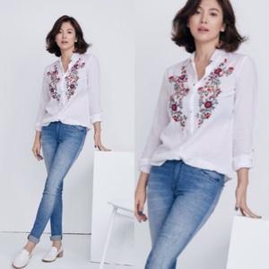 Baju Kemeja Wanita Hem Cewek Bordir Warna Putih