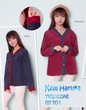 Baju Kemeja Wanita Hem Cewek Lengan Panjang Warna Kombinasi