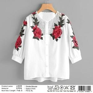 Baju Kemeja Wanita Hem Warna Putih Lengan Panjang Motif Cantik Moderl Terbaru