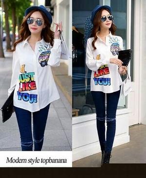 Baju Kemeja Wanita Long Hem Warna Putih Modern Model Terbaru Lengan Panjang