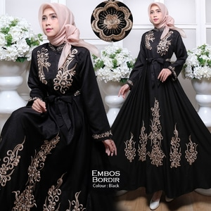 Baju Maxy Gamis Long Dress Muslim Bordir Panjang Model Terbaru