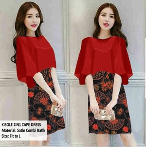 Baju Mini Cape Dress Pendek Kombinasi Motif Batik Cantik
