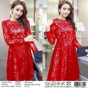 Baju Mini Dress Brukat Pendek Wanita Lengan Panjang Modern
