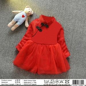 Baju Mini Dress Pendek Anak Perempuan Kombinati Tile Cantik Lucu Warna Merah