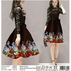 Baju Mini Dress Pendek Fashion Wanita Motif Bunga Kombinasi Bahan Brukat Cantik