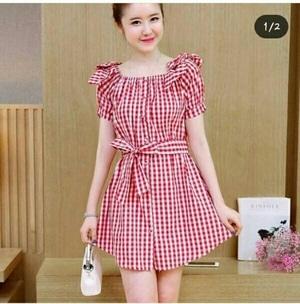 Baju Mini Dress Pendek Fashion Wanita Motif Kotak-kotak Modern Model Terbaru Cantik