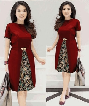 Baju Mini Dress Pendek Motif Batik Cantik Warna Merah Maroon
