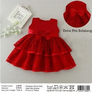Baju Mini Dress Pendek Pesta Anak Perempuan Bahan Brukat