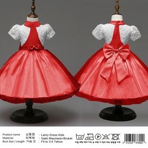 Baju Mini Dress Pendek Pesta Anak Perempuan Kombinasi Brukat