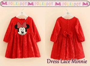 Baju Mini Dress Pendek Pesta Anak Perempuan Warna Merah Bahan Lace
