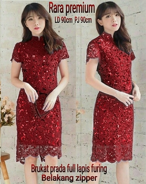 Baju Mini Dress Pendek Pesta Bahan Brukat Warna Merah Modern