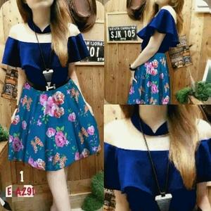 Baju Mini Dress Pendek Sabrina Warna Biru Motif Bunga Cantik Model Terbaru