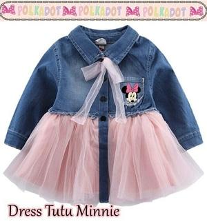 Baju Mini Dress Pendek Tutu Anak Perempuan Gambar Minnie Mouse Model Terbaru