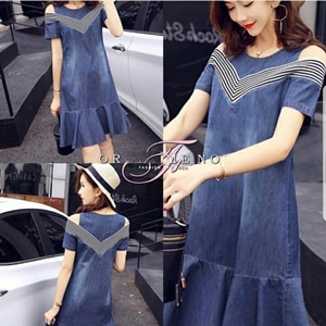 Baju Mini Dress Pendek Wanita Bahan Katun Denim Modern