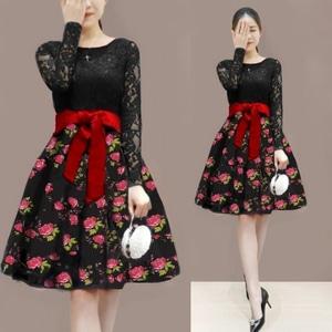 Baju Mini Dress Pendek Wanita Lengan Panjang Brukat Motif