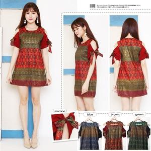Baju Mini Dress Pendek Wanita Motif Batik Model Terbaru
