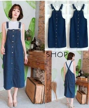 Baju Overall Jumpsuit Rok Kodok Bahan Jeans Model Terbaru Modern Cantik Modis