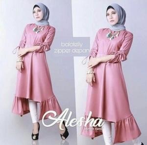 Baju Tunik Atasan Wanita Blouse Hijab Lengan Panjang Modern