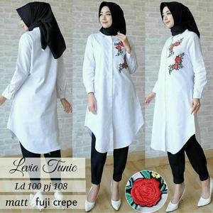 Baju Tunik Atasan Wanita Lengan Panjang Warna Putih