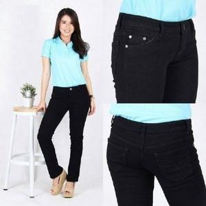Celana Skinny Jeans Wanita Warna Hitam Panjang Modern