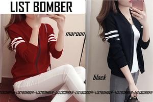 Jaket List Bomber Wanita Keren Modern Model Terbaru
