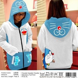 Jaket Sweater Hoodie Wanita Gambar Doraemon Modern