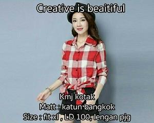 Model Baju Kemeja Wanita Hem Motif Kotak-kotak Warna Merah Lengan Panjang Terbaru
