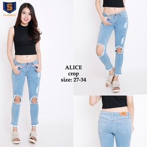 Model Celana Crop Jeans Bolong Panjang Wanita Terbaru