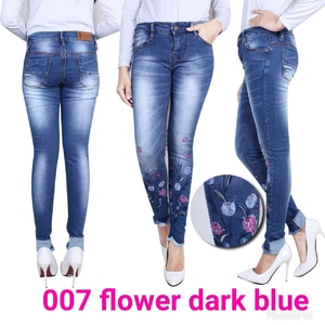 Model Celana Jeans Panjang Wanita Bordir Dark Blue Modern