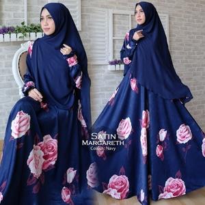 Pakaian Muslimah Wanita Setelan Baju Gamis Syari Motif Bunga Modern Model Terbaru