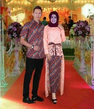 Setelan Baju Batik Couple Long Tunik Brukat Rok Lilit Modern