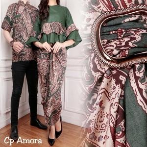 Setelan Baju Batik Couple Rok Lilit Modern Model Terbaru
