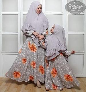 Setelan Baju Couple Gamis Syari Ibu dan Anak Motif Cantik Modern Model Terbaru