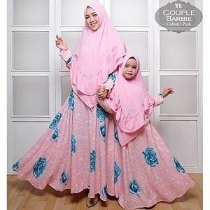 Setelan Baju Couple Gamis Syari Ibu Dan Anak Motif Cantik Modern
