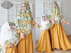 Setelan Baju Couple Muslim Ibu Dan Anak Perempuan Gamis Syari Modern