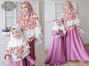 Setelan Baju Couple Muslim Ibu dan Anak Perempuan Gamis Syari Modern Model Terbaru