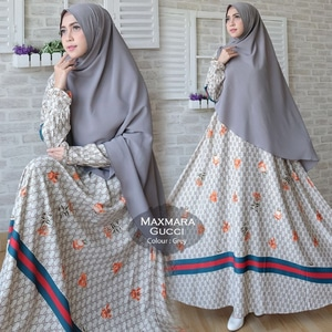 Setelan Baju Gamis Syari Muslimah Bahan Maxmara Motif Gucci Modern