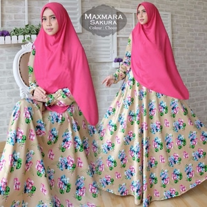 Setelan Baju Gamis Syari Muslimah Modern Motif Cantik Model Terbaru