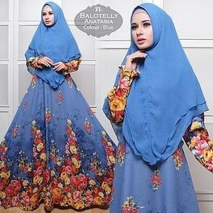Setelan Baju Gamis Syari Muslimah Motif Cantik Modern Model Terbaru
