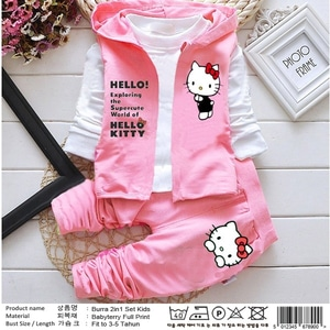Setelan Baju Jaket Hoodie Hello Kitty dan Celana Panjang Anak