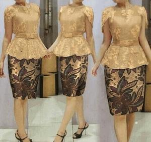 Setelan Baju Kebaya Brukat Gold dan Rok Batik Pendek Modern