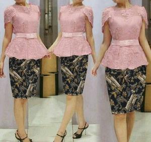 Setelan Baju Kebaya Brukat dan Rok Motif Batik Pendek Modern