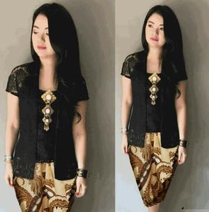 Setelan Baju Kebaya Kutubaru Brukat Hitam dan Rok Batik Pendek