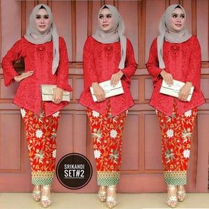 Setelan Baju Kebaya Rok Batik Brukat Muslim Model Terbaru